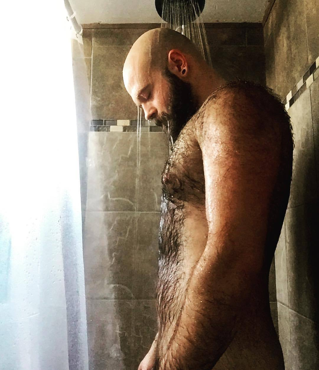 sexy hairy naked man in the shower